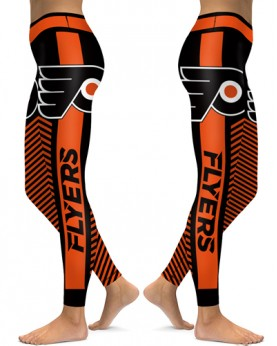 DBAQ565 High Waist NHL Philadelphia Flyers Hockey Team 4Needle 6Thread Stitcking Sports Leggings
