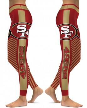 DBAQ566 High Waist NFL San Francisco 49ers Football Team 4Needle 6Thread Stitcking Sports Leggings