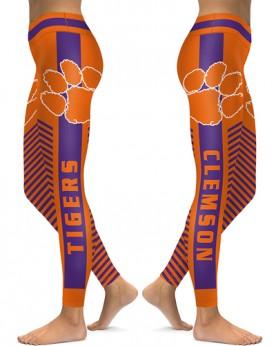 DBAQ568 High Waist American University Clemson Tigers 4Needle 6Thread Stitcking College Team Sports Leggings