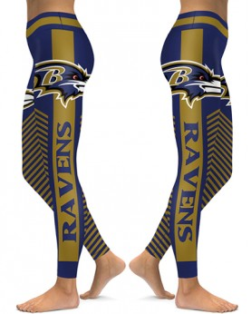 DBAQ570 High Waist NFL Baltimore Ravens Football Team 4Needle 6Thread Stitcking Sports Leggings