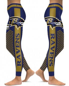 DBAQ570 High Waist NFL Baltimore Ravens Football Team 4Needle 6Thread Stitcking Sports Leggings