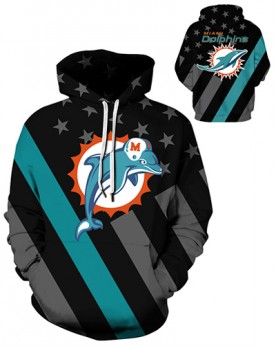 DQYDM445 3D Digital Printed NFL Miami Dolphins Football Team Sport Hoodie Unisex Hoodie With Hat