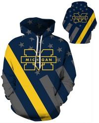 DQYDM451 3D Digital Printed American University Michigan Wolverines Football Team Sport Hoodie Unisex Hoodie With Hat