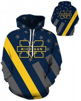 DQYDM451 3D Digital Printed American University Michigan Wolverines Football Team Sport Hoodie Unisex Hoodie With Hat