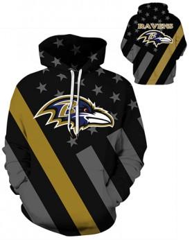 DQYDM456 3D Digital Printed NFL Baltimore Ravens Football Team Sport Hoodie Unisex Hoodie With Hat