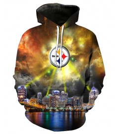 FGF6371 3D Digital Printed NFL Pittsburgh Steelers Football Team Sport Hoodie With Hat