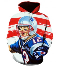 FGF6909 3D Digital Printed NFL New England Patriots Football Team Sport Hoodie With Hat