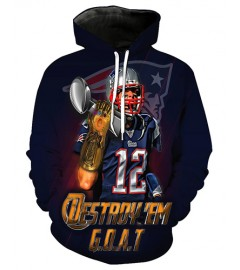FGF7252 3D Digital Printed NFL New England Patriots Football Team Sport Hoodie With Hat