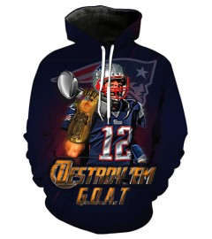 FGF7337 3D Digital Printed NFL New England Patriots Football Team Sport Hoodie With Hat