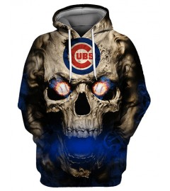FGC0031 3D Digital Printed MLB Chicago Cubs Baseball Team Sport Hoodie With Hat