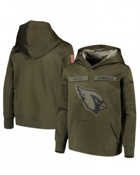 LK001-AC Men's Arizona Cardinals Olive Salute To Service Sideline Therma Performance Pullover Hoodie