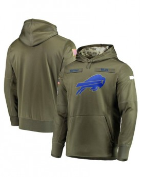 LK001-BB Men's Buffalo Bills Olive Salute To Service Sideline Therma Performance Pullover Hoodie