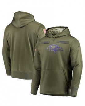 LK001-BR Men's Baltimore Ravens Olive Salute To Service Sideline Therma Performance Pullover Hoodie