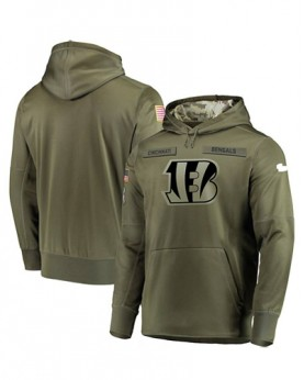 LK001-CCB Men's Cincinnati Bengals Olive Salute To Service Sideline Therma Performance Pullover Hoodie