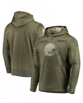 LK001-CLB Men's Cleveland Browns Olive Salute To Service Sideline Therma Performance Pullover Hoodie