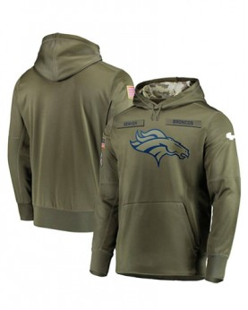 LK001-DB Men's Denver Broncos Olive Salute To Service Sideline Therma Performance Pullover Hoodie