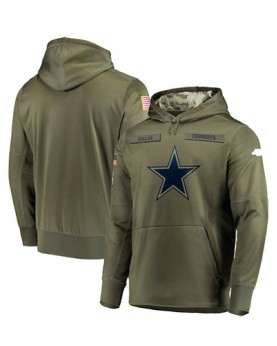 LK001-DC Men's Dallas Cowboys Olive Salute To Service Sideline Therma Performance Pullover Hoodie