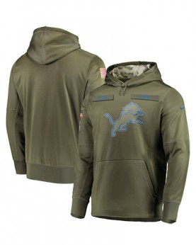 LK001-DL Men's Detroit Lions Olive Salute To Service Sideline Therma Performance Pullover Hoodie