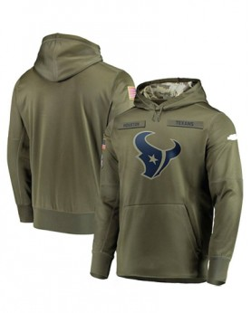 LK001-HT Men's Houston Texans Olive Salute To Service Sideline Therma Performance Pullover Hoodie