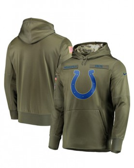 LK001-IC Men's Indianapolis Colts Olive Salute To Service Sideline Therma Performance Pullover Hoodie