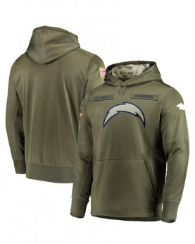 LK001-LAC Men's Los Angeles Chargers Olive Salute To Service Sideline Therma Performance Pullover Hoodie