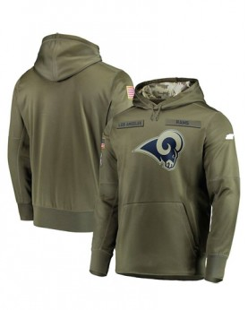 LK001-LAR Men's Los Angeles Rams Olive Salute To Service Sideline Therma Performance Pullover Hoodie