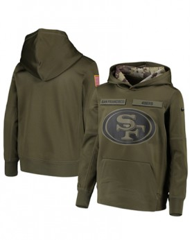 LK001-SF Men's San Francisco 49ers Salute To Service Sideline Therma Performance Pullover Hoodie