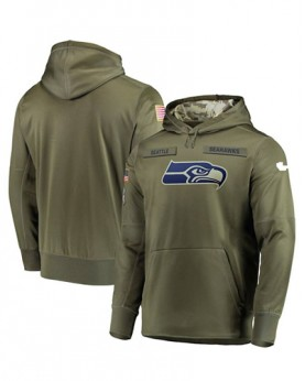 LK001-SS Men's Seattle Seahawks Salute To Service Sideline Therma Performance Pullover Hoodie
