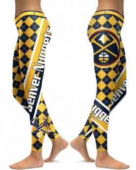 DBAQ531 High Waist NBA Denver Nuggets Basketball Team 4Needle 6Thread Stitcking Sports Leggings