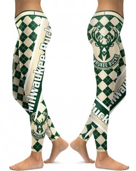 DBAQ532 High Waist NBA Milwaukee Bucks Basketball Team 4Needle 6Thread Stitcking Sports Leggings