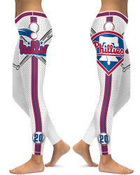DBAQ046 High Waist MLB Philadelphia Phillies Baseball Team 4Needle 6Thread Stitcking Sports Leggings