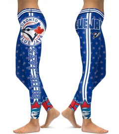 DBAQ056 High Waist MLB Toronto Blue Jays Baseball Team 4Needle 6Thread Stitcking Sports Leggings