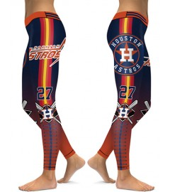 DBAQ084 High Waist MLB Houston Astros Baseball Team 4Needle 6Thread Stitcking Sports Leggings