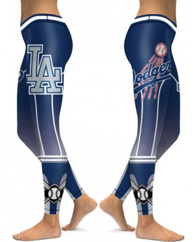 DBAQ139 High Waist MLB Los Angeles Dodgers Baseball Team 4Needle 6Thread Stitcking Sports Leggings