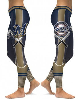 DBAQ140 High Waist MLB Milwaukee Brewers Baseball Team 4Needle 6Thread Stitcking Sports Leggings