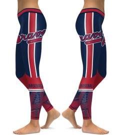 DBAQ151 High Waist MLB Atlanta Braves Baseball Team 4Needle 6Thread Stitcking Sports Leggings