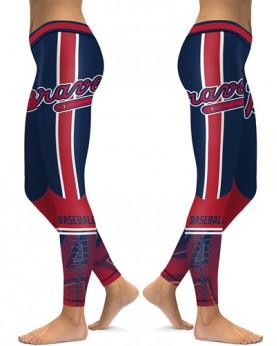 DBAQ151 High Waist MLB Atlanta Braves Baseball Team 4Needle 6Thread Stitcking Sports Leggings