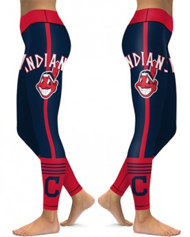 DBAQ154 High Waist MLB Cleveland Indians Baseball Team 4Needle 6Thread Stitcking Sports Leggings