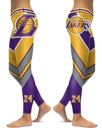DBAQ023 High Waist NBA Los Angeles Lakers Basketball Team 4Needle 6Thread Stitcking Sports Leggings