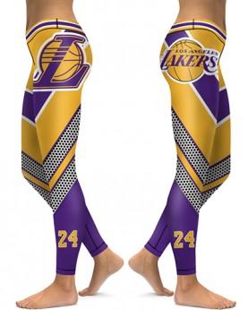 DBAQ023 High Waist NBA Los Angeles Lakers Basketball Team 4Needle 6Thread Stitcking Sports Leggings