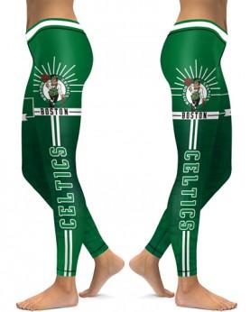 DBAQ113 High Waist NBA Boston Celtics Basketball Team 4Needle 6Thread Stitcking Sports Leggings