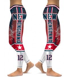 DBAQ125 High Waist NFL New England Patriots Football Team 4Needle 6Thread Stitcking Sports Leggings