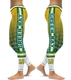 DBAQ146 High Waist NFL Green Bay Packers Football Team 4Needle 6Thread Stitcking Sports Leggings
