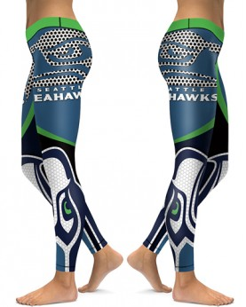 DBAQ011 High Waist NFL Seattle Seahawks Football Team 4Needle 6Thread Stitcking Sports Leggings