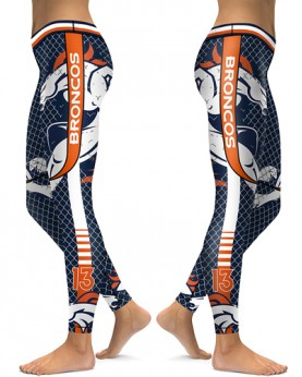 DBAQ035 High Waist NFL Denver Broncos Football Team 4Needle 6Thread Stitcking Sports Leggings