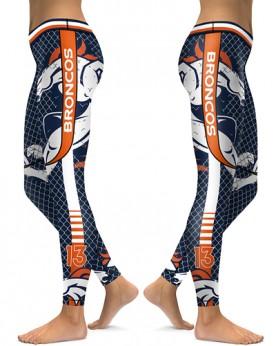 DBAQ035 High Waist NFL Denver Broncos Football Team 4Needle 6Thread Stitcking Sports Leggings
