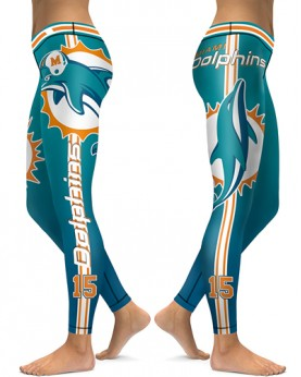 DBAQ036 High Waist NFL Miami Dolphins Football Team 4Needle 6Thread Stitcking Sports Leggings