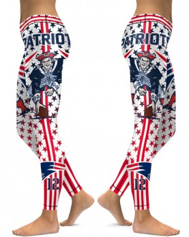 DBAQ037 High Waist NFL New England Patriots Football Team 4Needle 6Thread Stitcking Sports Leggings