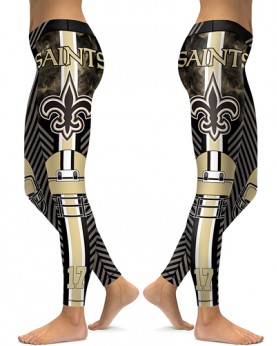 DBAQ038 High Waist NFL New Orleans Saints Football Team 4Needle 6Thread Stitcking Sports Leggings