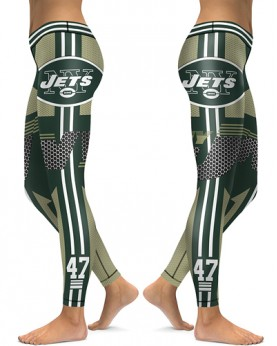 DBAQ040 High Waist NFL New York Jets Football Team 4Needle 6Thread Stitcking Sports Leggings